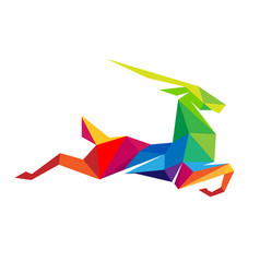 Creative abstract colorful gazelle logo vector