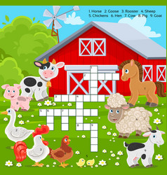 crossword education game for children about farm vector image