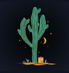Cute cartoon with high saguaro cactus and liitle vector