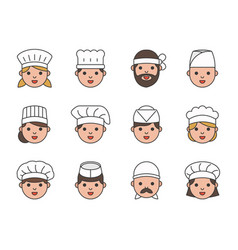 Cute chef head outline icon editable stroke vector