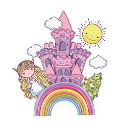 cute little fairy with castle and rainbow vector image