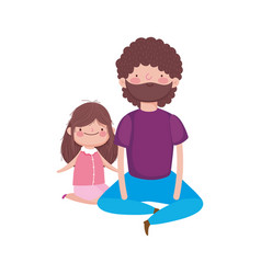 dad and daughter sitting characters vector image