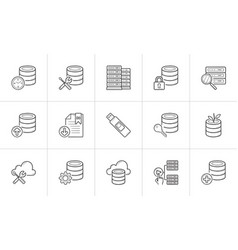 Database hand drawn outline doodle icon set vector