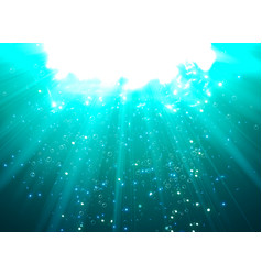 Deep water bubbles blue color illuminated by rays vector