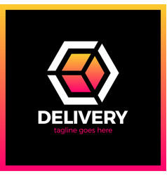 Delivery box arrow logotype colorful gradient vector