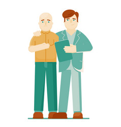 Doctor oncologist and patient on white background vector