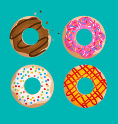 donuts set isolated on green background graphic vector image