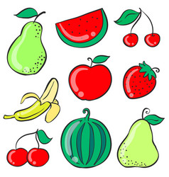 Doodle of fruit various colorful vector