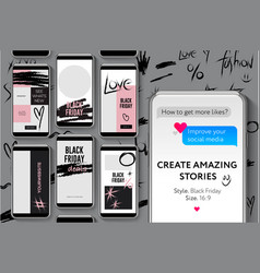Editable instagram stories template black friday vector