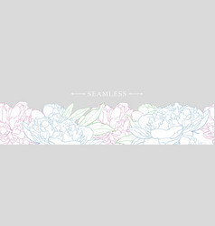 Elegant white peonies with colorful pathes border vector