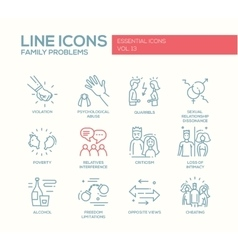 Family problems- line design icons set vector image