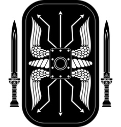 fantasy roman shield and swords vector image