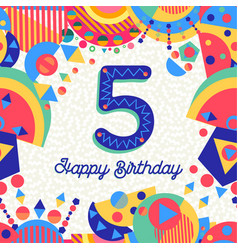 Five 5 year birthday party greeting card number vector