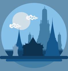 Flat design landscape of Thailand temple vector image