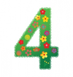 Floral number 4 vector