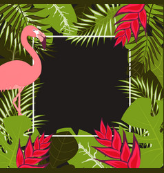 flower flamingo frame 1 vector image