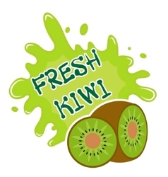Fresh kiwi splash icon logo sticker Fruit vector image