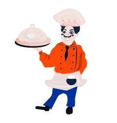 Funny cartoon restaurant character merry cook vector