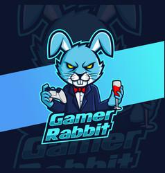 Gamer rabbit with wine and tuxedo mascot esport vector