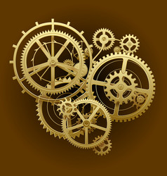 Gold gear wheels vector