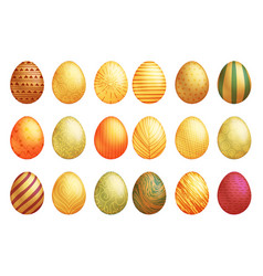 golder hand painted easter eggs decorative lineart vector image