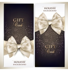 Gorgeous gift cards with white bows and copy space vector