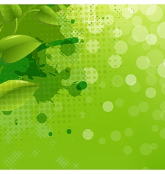 Green Nature Background With Blur Blob And Leaf vector image