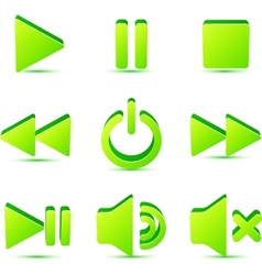 Green plastic navigation symbols set vector image