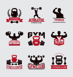 gym fit badges sport fitness healthcare logo vector image
