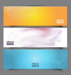 Halftone dot banners vector