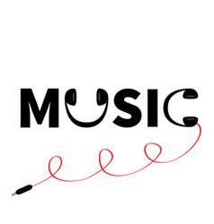 Headphones earphones icon word music red cord vector