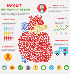 Heart infographic with symbols text and graphic vector