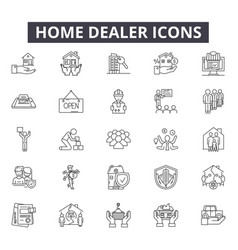 home dealer line icons for web and mobile design vector image