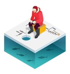Ice fishing a man on the ice fishing Solitude vector image