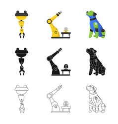 Isolated object of robot and factory sign set of vector