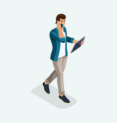isometric a young man goes ahead business negotia vector image