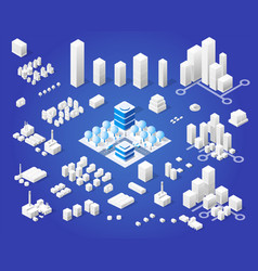 isometric set module city vector image