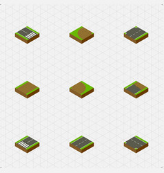 isometric way set of unfinished upwards downward vector image