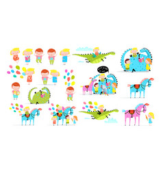 kids in fantasy world cartoon set vector image