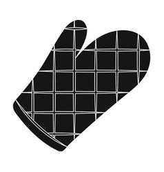 Kitchen glovebbq single icon in black style vector