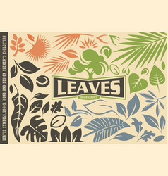 leaves symbols graphics icons and logos vector image