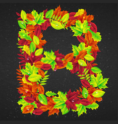 Letters of autumn leaves vector