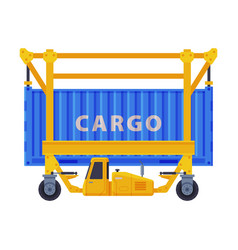 Loading cargo container freight transport flat vector