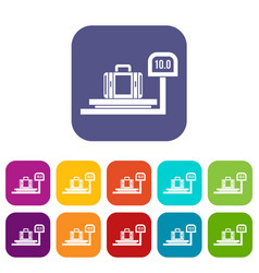 Luggage weighing icons set vector
