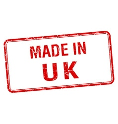 made in uk red square isolated stamp vector image