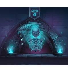 Magic skeleton with scythe in portal vector