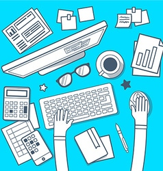 Modern creative workplace in room on blue vector