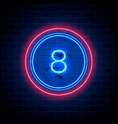 neon city font sign number 8 vector image