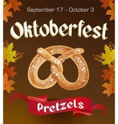 Oktoberfest vintage poster with Pretzels and vector