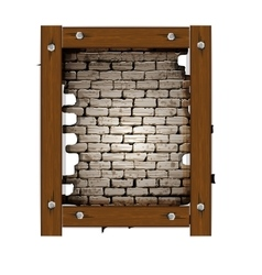 old brick wall frame with wooden boards vector image